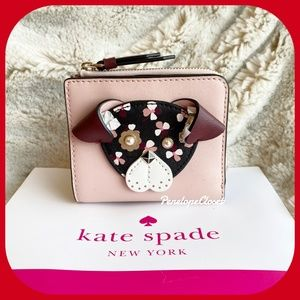 KATE SPADE FLORAL PUP SMALL L-ZIP WALLET CHERRYWOO